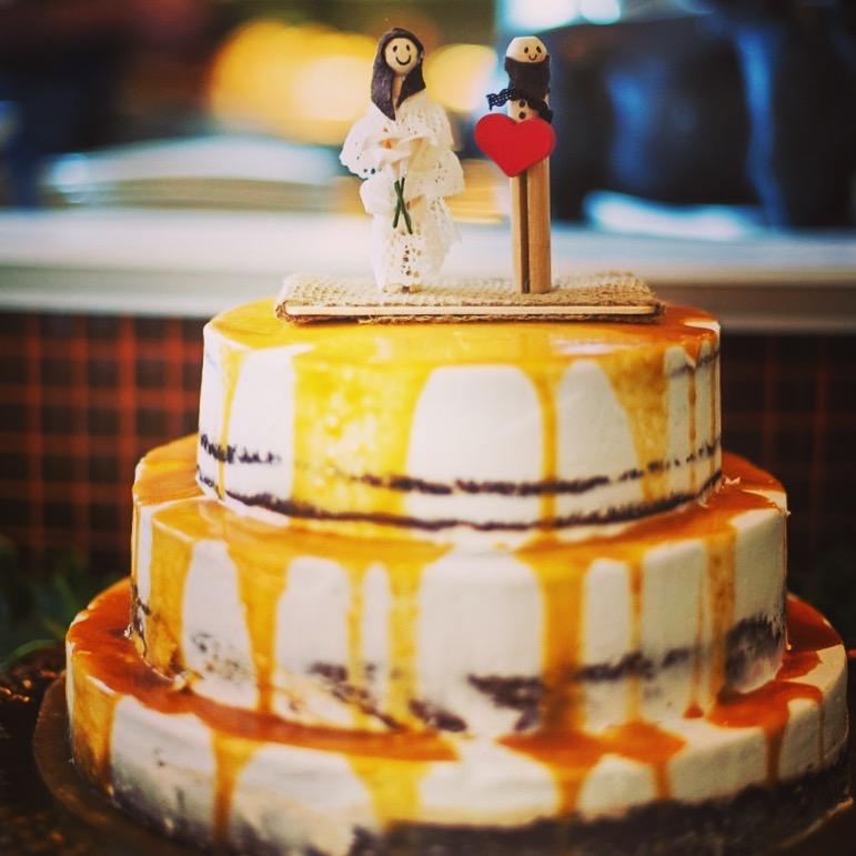 4 Caramel Wedding Cake - The Red Bandana Bakery